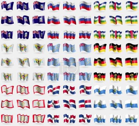 Falkland Islands, Russia, Central African Republic, VirginIslandsUS, Tuvalu, Germany, Sikkim, Dominican Republic, San Marino. Big set of 81 flags. Vector