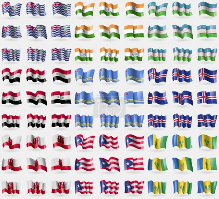 British Indian Ocean Territory, India, Uzbekistan, Syria, Aruba, Iceland, Gibraltar, Puerto Rico, Saint Vincent and Grenadines. Big set of 81 flags. Vector