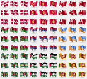 Denmark Kyrgyzstan Tonga Vanuatu Serbia Tierra del Fuego Province Dominica Palestine Sri Lanka Big set of 81 flags Vector