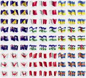 Tokelau Malta Ukraine Saint Helena Lesothe Central Africa Republic Easter Rapa Nui Peru Aland Big set of 81 flags Vector