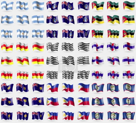 Argentina, Tristan da Cunha, Mozambique, North Ossetia, Brittany, Netherlands Antilles, Turks and Caicos, Philippines, Belize. Big set of 81 flags. Vector