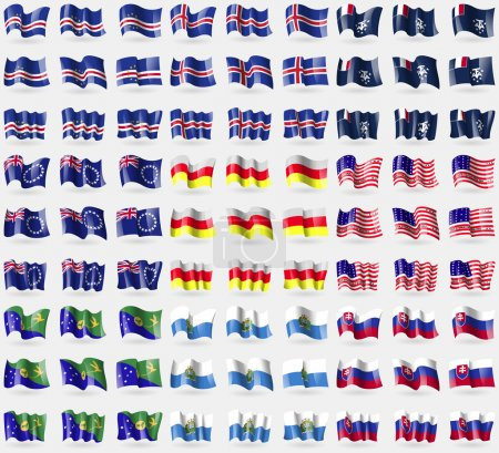 Cape Verde, Iceland, French and Antarctic, Cook Islands, North Ossetia, Bikini Atoll, Christmas Islands, San Marino, Slovakia. Big set of 81 flags. Vector