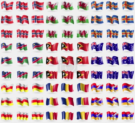 Norway, Wales, Aland, Namibia, East Timor, Australia, North Ossetia, Romania, Karabakh Republic. Big set of 81 flags. Vector