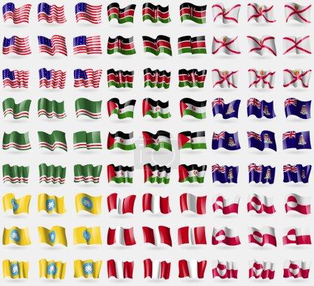 Bikini Atoll, Kenya, Jersey, Chechen Republic of Ichkeria, Western Sahara, Cayman Islands, Kalmykia, Peru, Greenland. Big set of 81 flags. Vector