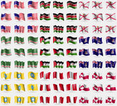 Bikini Atoll Kenya Jersey Chechen Republic of Ichkeria Western Sahara Cayman Islands Kalmykia Peru Greenland Big set of 81 flags Vector
