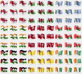 Sark Wales Uruguay India Bermuda Oman Western Sahara Niue Cote d'ivoire Big set of 81 flags Vector illustration