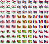Hugary Aland Gambia USA Sri Lanka Andorra Wales Sao Tome and Principe Czech Republic Big set of 81 flags Vector illustration