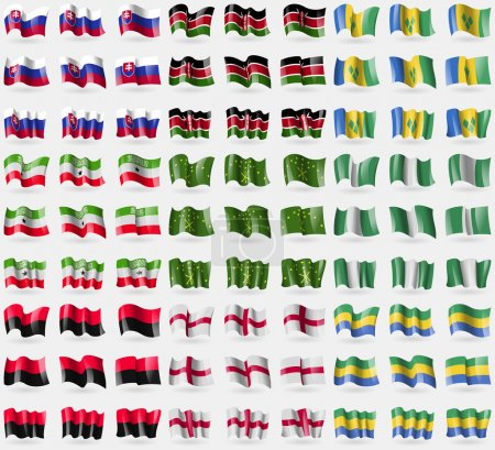 Slovakia, Kenya, Saint Vincent and Grenadines, Somaliland, Adygea, Nigeria, UPA, England, Gabon. Big set of 81 flags. Vector