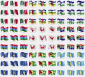 Mexico Central African Republic Lesothe Karelia Easter Rapa Nui South Africa Kosovo Guyana Palau Big set of 81 flags Vector