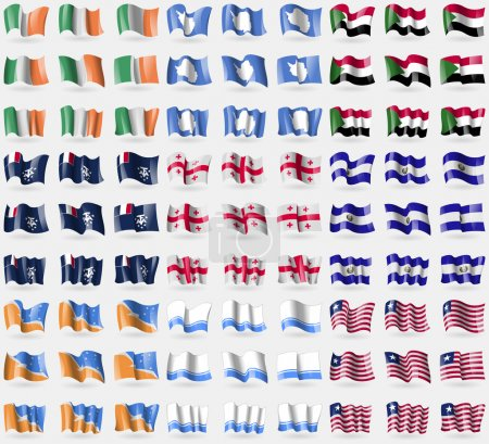 Ireland, Antarctica, Sudan, French and Antarctic, Georgia, El Salvador, Tierra del fuego Province, Altai Republic, Liberia. Big set of 81 flags. Vector