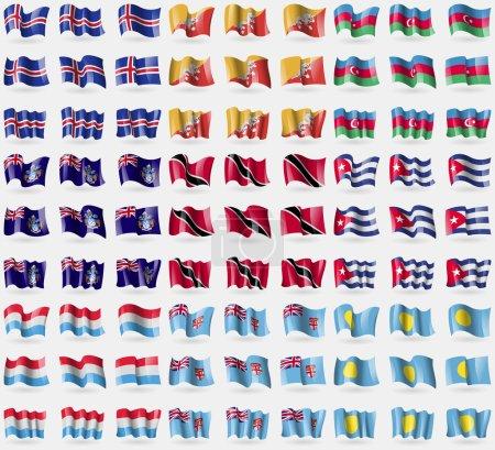 Iceland, Bhutan, Azerbaijan, Tristan da Cunha, Trinidad and Tobago, Cuba, Luxembourg, Fiji, Palau. Big set of 81 flags. Vector