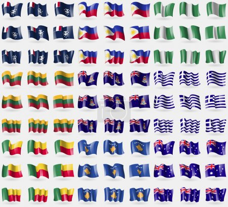 French and Antarctic, Philippines, Nigeria, Lithuania, Cayman Islands, Greece, Benin, Kosovo, Australia. Big set of 81 flags. Vector