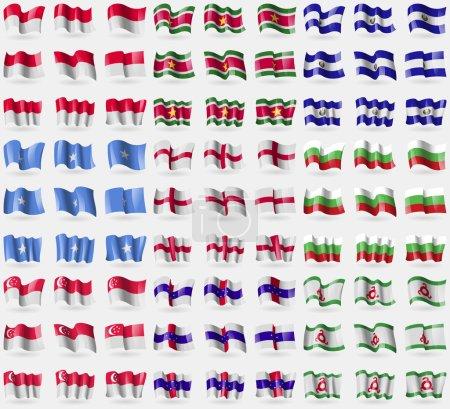 Monaco, Suridame, El Salvador, Somalia, England, Bulgaria, Singapore, Netherlands Antilles, Ingushetia. Big set of 81 flags. Vector