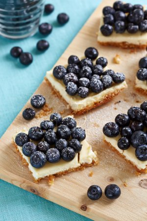 Pieces of blueberry cheesecake
