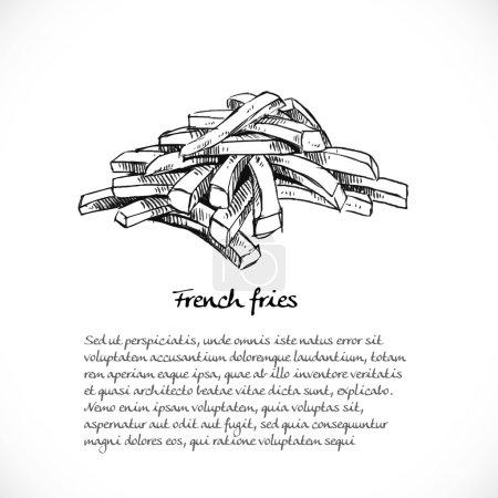 Illustration pour Contexte de votre texte avec des gribouillis sur le thème de la restauration rapide frites - image libre de droit