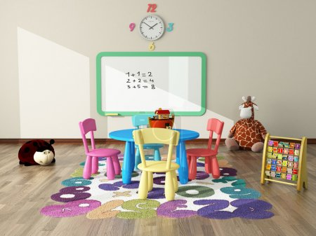 Foto de Sweet interior decor render for kids room - Imagen libre de derechos