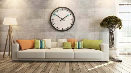 Photo for Living room or saloon interior design with big wall watch 3d rendering - Royalty Free Image