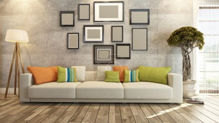 Photo for Living room or saloon interior design with frames on concrete wall 3d rendering - Royalty Free Image
