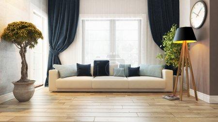 Photo pour Salle de séjour ou salon design d'intérieur avec le rendu 3d de siège - image libre de droit
