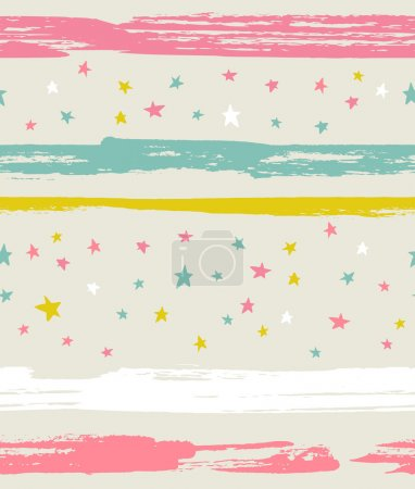 Seamless pattern with colorful stars and stripes