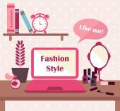 Fashion vector card with flat icons for woman