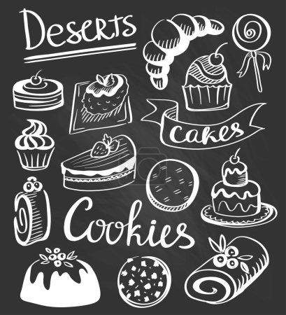 Illustration pour Collection vintage de desserts. Croquis de desserts dessinés à la main à la craie sur tableau noir illustration . - image libre de droit