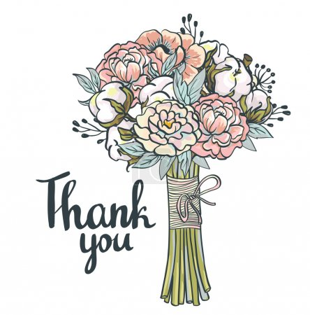 Illustration for Thank you card. Hand drawn vintage collage frame with roses, cotton, peonies - Royalty Free Image