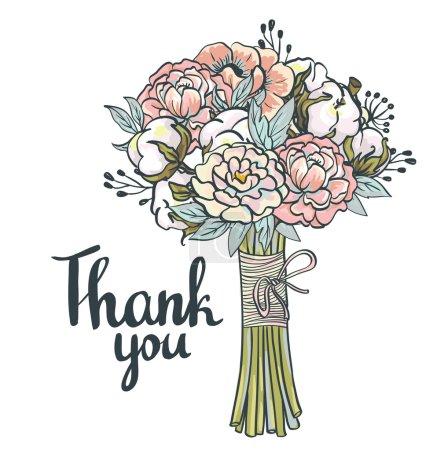 Illustration pour Carte de remerciement. Cadre de collage vintage dessiné à la main avec roses, coton, pivoines - image libre de droit
