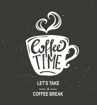 """Coffee Time"" Hipster Vintage Lettering"