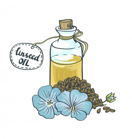 Illustration for Flax Seeds Oil in a Glass Bottle. Vector Illustration - Royalty Free Image