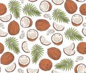Vector hand drawn seamless pattern with coconuts and tropical leaves