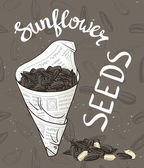 Bundle of newsprint with roasted sunflower seeds Hand drawn vector illustration