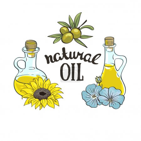 Flax Seeds Oil and sunflower oil in a Glass Bottle...