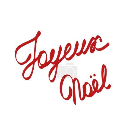 Illustration pour Joyeux Noel phrase signifiant Joyeux Noël en français, dessin à la main vectoriel EPS 10 simple lettrage isolé pour carte de vœux, cartes postales, affiche, bannière - image libre de droit