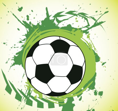 Colorful green splash and ball.Abstract football background