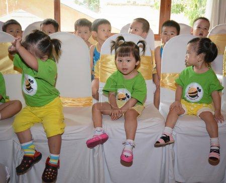 Children study and play in a kidergarten school