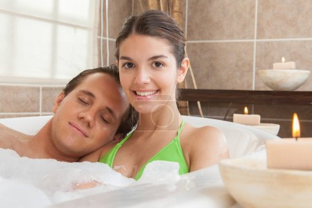 Couple taking a bath