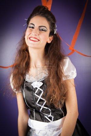 Girl dressed for halloween
