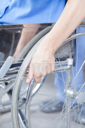 close up of patient in  in wheelchair