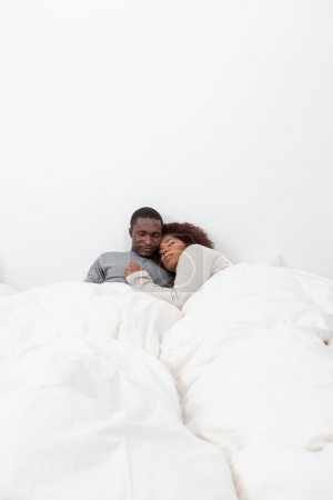 couple in love in the bed
