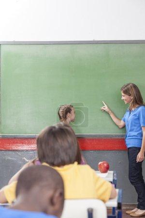 The teacher teaching children
