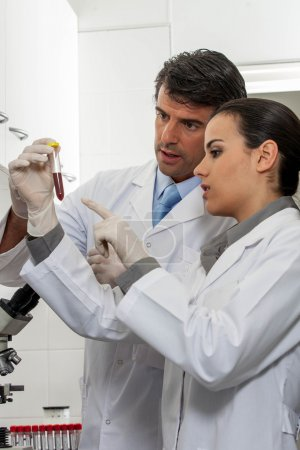 Photo for Partners looking at the tube in laboratory - Royalty Free Image