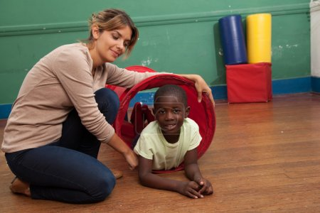 teacher  playing with boy