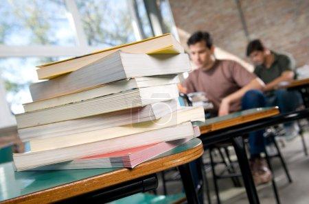 books in university classroom