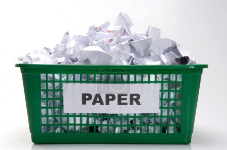Recycling paper in container