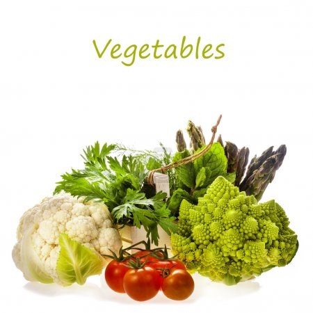 Photo for Fresh vegetables and herbs isolated on a white background with copy space for text - Royalty Free Image