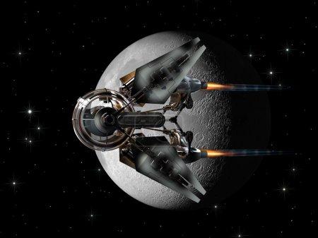 Photo pour Futuriste vaisseau spatial sphérique nacelle avec propulseurs de palettes latérales, passant la Lune - image libre de droit