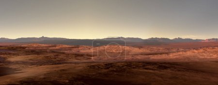 3D Rendering of a Mars-like red planet panorama with arid landscape and rocky hills, for 3D illustration environments.