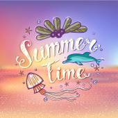 Set of summer elements: blurred beach landscape, text, shells, sea animals. Holidays typographic design for card, logo, label, wallpaper. Summer theme.