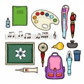 School set. Isolated on white background. Education symbols collections: backpack, school board, backpack, notebook, paint, magnifying glass, ink, pen, pear, stationery knife, notes, pen